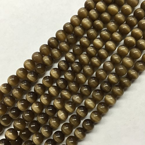 Round Cats Eye Glass Beads (fiber optic), Grade A,15