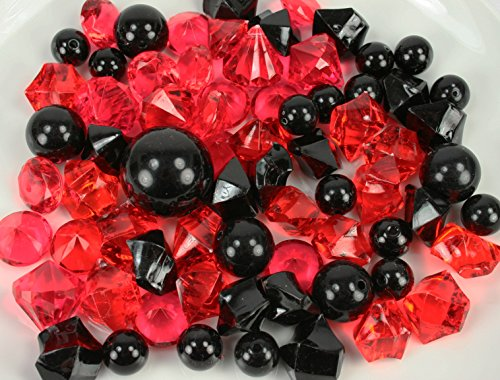 Dreampartycreation 60 Assorted Pearls & Acrylic Gems Table Scatter Vase Decoration (BLACK & RED) (Black Acrylic Gems compare prices)