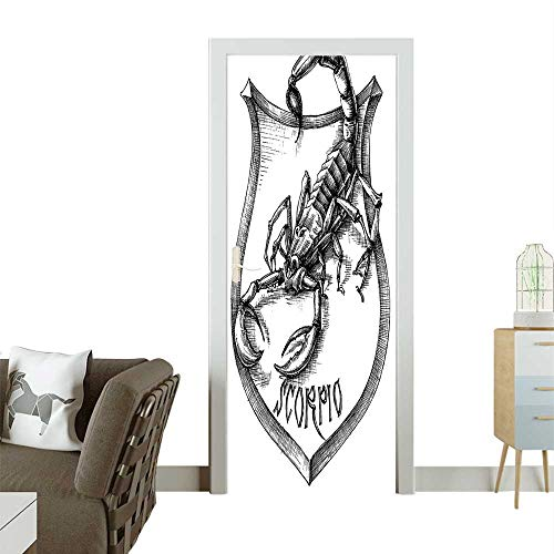 Joe Claws Gi (Homesonne Door Decals and White Heraldry Zodiac Scorpio Graphic Claws Stars Black White Pressure resistantW38.5 x H79 INCH)