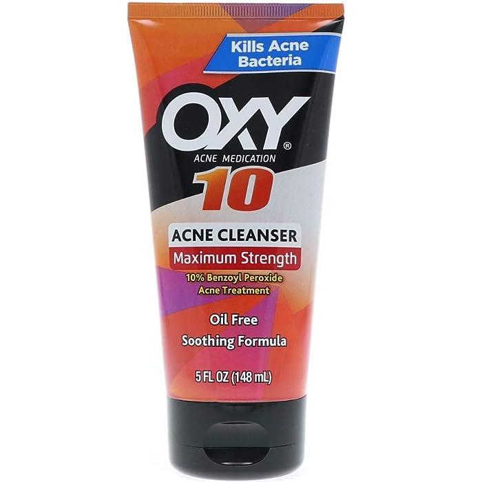Oxy Acne Medication Face Wash - Maximum Action with Maximum Strength 10% Benzoyl Peroxide (5 Fl Oz)