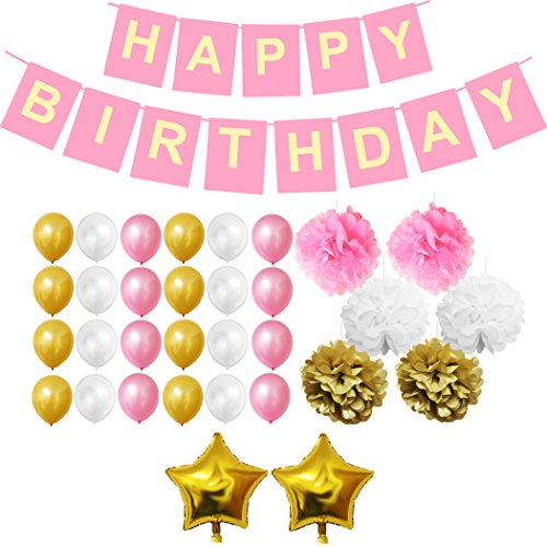 BELLE VOUS 33 Piece Birthday Balloons, Birthday Decoration Set Happy Birthday Banner - Birthday Party Supplies - Gold, White & Pink Latex Balloon Decoration - Pom Poms - Foil & Star Balloons