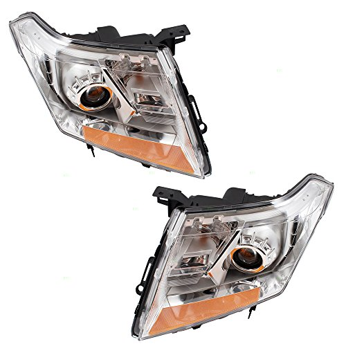 Pair Set Halogen Headlights Combination Headlamps Replacement for 10-13 Cadillac SRX 22853872 22853873