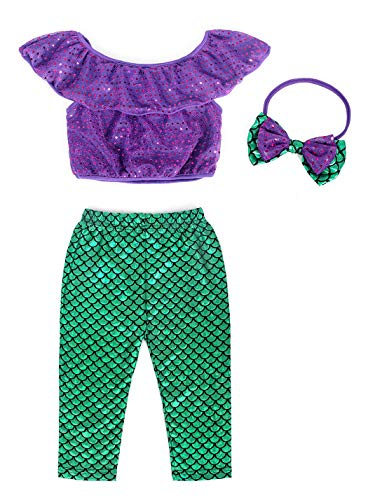 (Cotrio Little Mermaid Costumes Toddler Baby Girls 3-Pieces Clothes Set Shirt +Long Scale Leggings Pants with Bow-Knot Headband Halloween Outfits Size 3T (2-3Years, Green,)