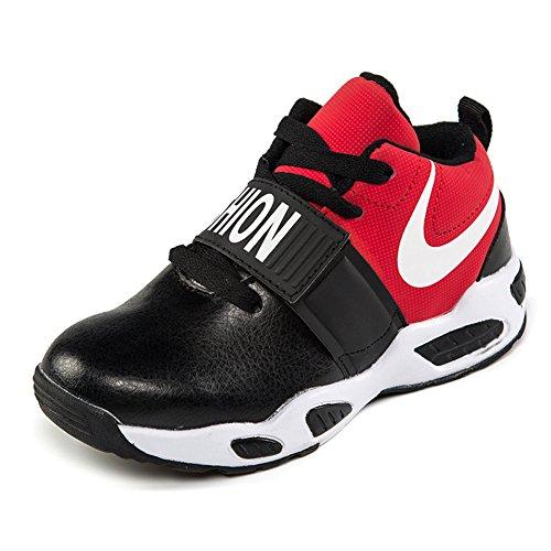 電子レンジケージ名義でAGILEボーイシューズ新しい2017韓国の野生の男の子スポーツシューズ子供のバスケットボールシューズ子供靴 (22.5cm, 黒と赤)