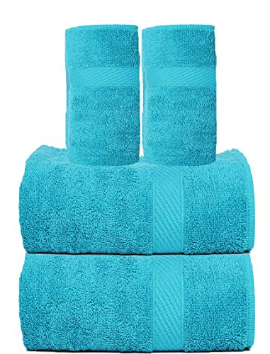 TRIDENT Cotton Extra Soft 4-Pieces (Bath and Hand) Towel Set, Teal Sachet