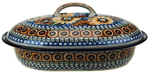 Ceramika Artystyczna Polish Hand Painted Oval Covered Baking Dish 10