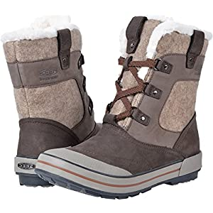KEEN Women's Elsa Premium Mid WP-w Snow Boot, Espresso/Montana Grape, 9 M US