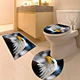 Anhuthree Eagle bathmat Toilet mat Set Photo of The Head of Freedom Symbol in America with Blurred Background Elongated Toilet Lid Cover Set Dark Brown Marigold Blue