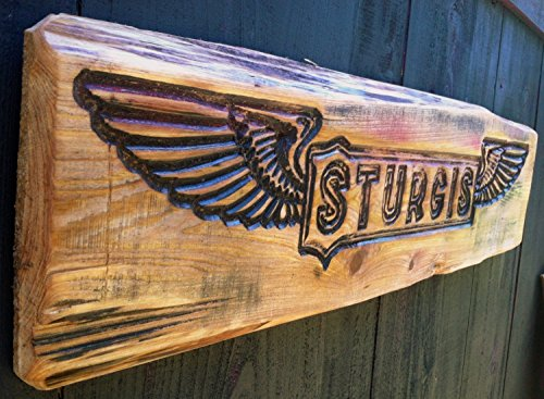 Large STURGIS Motorcycle Gift Sign - Carved in Cypress