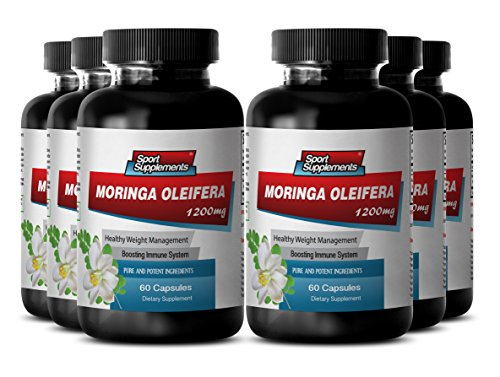 Natural Moringa Oleifera Leaf - Pure Herbal Appetite Suppressant (6 Bottles 360 Capsules) by Sport Supplement