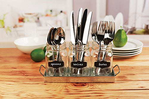 Circleware 69072 Yorkshire Chalkboard Mason Jar Glasses with Metal Holder Stand Set of 4, Home & Kitchen Farmhouse Décor Drink Tumblers for Water, Beer and Beverages, 17 oz, Galvanized by Circleware (Image #4)