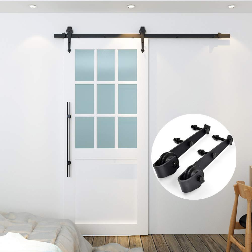Interior Door Kitchen Door Hardware Sliding Door Track Pulley Kit GreceYou 2pcs Heavy Duty Sliding Barn Door Hardware Super Smoothly and Quietly