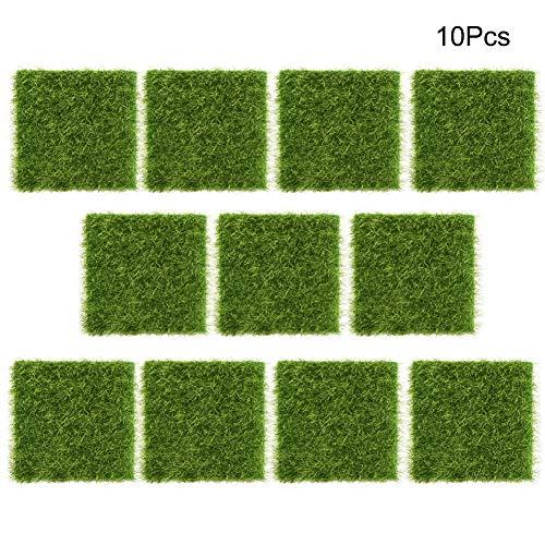 Mootea Artificial Grass Turf, 10Pcs Garden Home Plastic Crafts Micro Landscape Ornaments Simulated Turf 7.57.5cm