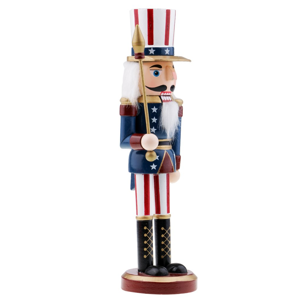 MagiDeal Walnut American Soldiers Christmas Wooden Nutcracker Soldiers Xmas Gift Table Decoration Puppet - #2