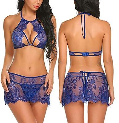 Avidlove Women Lace Lingerie Set Strappy Bra and Underwear Halter Babydoll Sleepwear