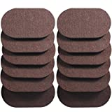 Liyic 12 Pack 6in. X 3.5in.Reusable Brown Oval Felt Furniture Sliders for Hard Surfaces.Premium Heavy Furniture Movers for Wooden Floor,Furniture Felt Slider Heavy Duty Felt Sliders Hard Floor Slider