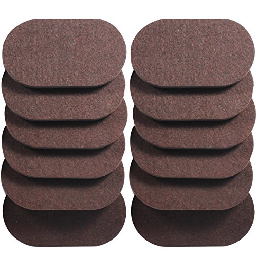 Liyic 12 Pack 6in. X 3.5in.Reusable Brown Oval Felt Furniture Sliders for Hard Surfaces.Premium Heavy Furniture Movers for Wooden Floor,Furniture Felt Slider Heavy Duty Felt Sliders Hard Floor Slider by Liyic (Image #7)