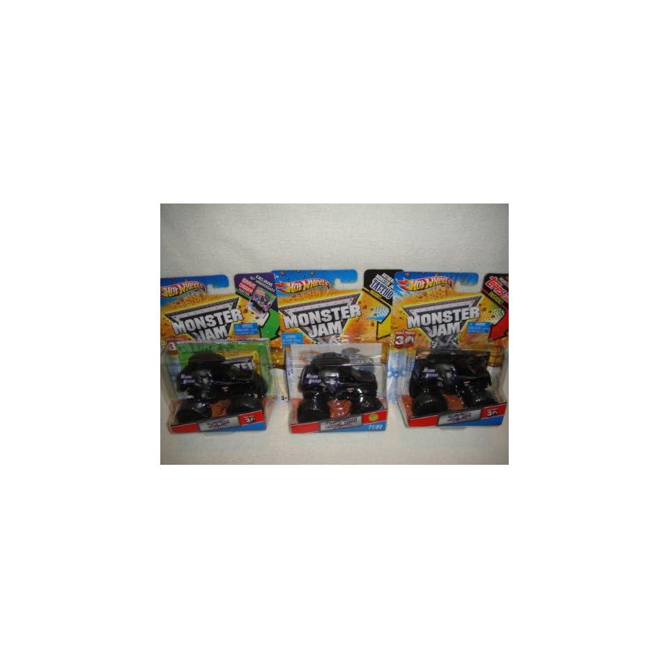 HOT WHEELS MONSTER JAM MOHAWK WARRIOR COMPLETE SET OF 3 MONSTER TRUCKS, TOPPS CARD, POSTER AND TATTOO VERSION MONSTER TRUCKS SET Toys & Games