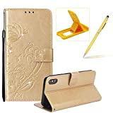 Wallet Case for iPhone Xs Max,Strap Portable Leather Case for iPhone Xs Max,Herzzer Stylish Bling Diamonds Gold Butterfly Embossed Pu Leather Purse Pouch Magnetic Closure Flip Folio Protective Case