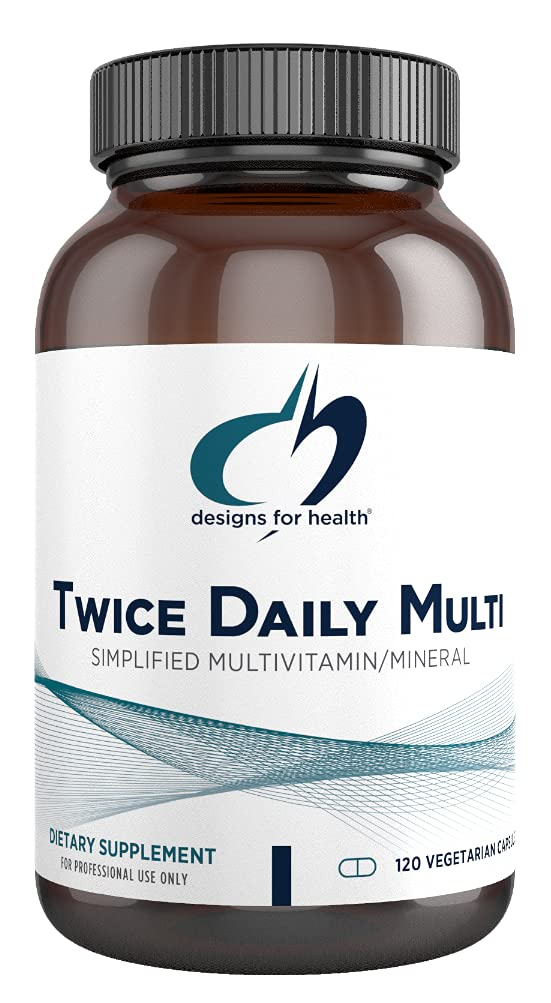 Designs for Health Twice Daily Multi - Iron-Free Adult Multivitamin Supplement with Folate Quatrefolic + Chelated Minerals - Vitamins A, B6, C, D, E, and K, Riboflavin, Thiamin (120 Capsules)