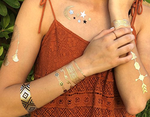 Tattoos Temporary Nail (LIMITLESS Metallic Temporary Tattoos - 8 Sheets of 100+ Tattoo Pieces For Women, Teens and Girls - Gold, Silver, Blue and Black Metallic/Glittery Waterproof Colors!)