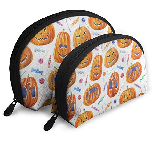 Makeup Bag Halloween Pumpkin Lollipop Candy Handy Half Moon Toiletry Bags Holder For Women -