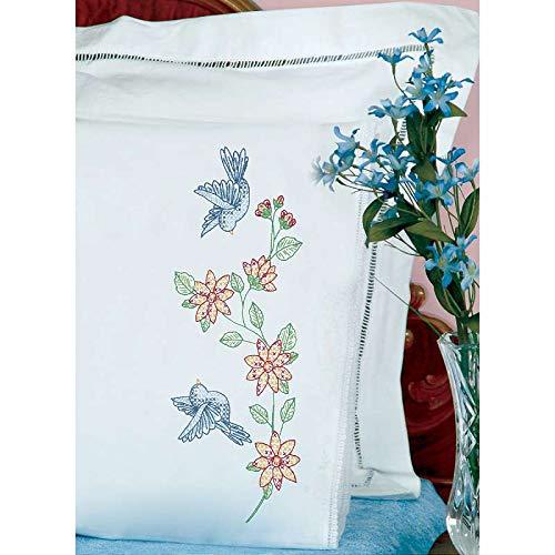 - Jack Dempsey Stamped Pillowcases W/White Lace Edge 2/Pkg-Birds