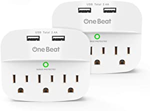 2 Pack 3-Outlet Surge Protector, Multi Plug Outlet Expander with 2 USB Wall Charger, Outlet Adapter with 490 Joules for Home, School, Office, ETL Listed