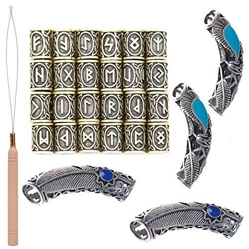 PIAOPIAONIU 28 Pcs Dreadlock Beads Viking Rune Beard Bead Hair Braiding Jewelry Hair Decoration with 1 Pcs Handle Pulling Loop