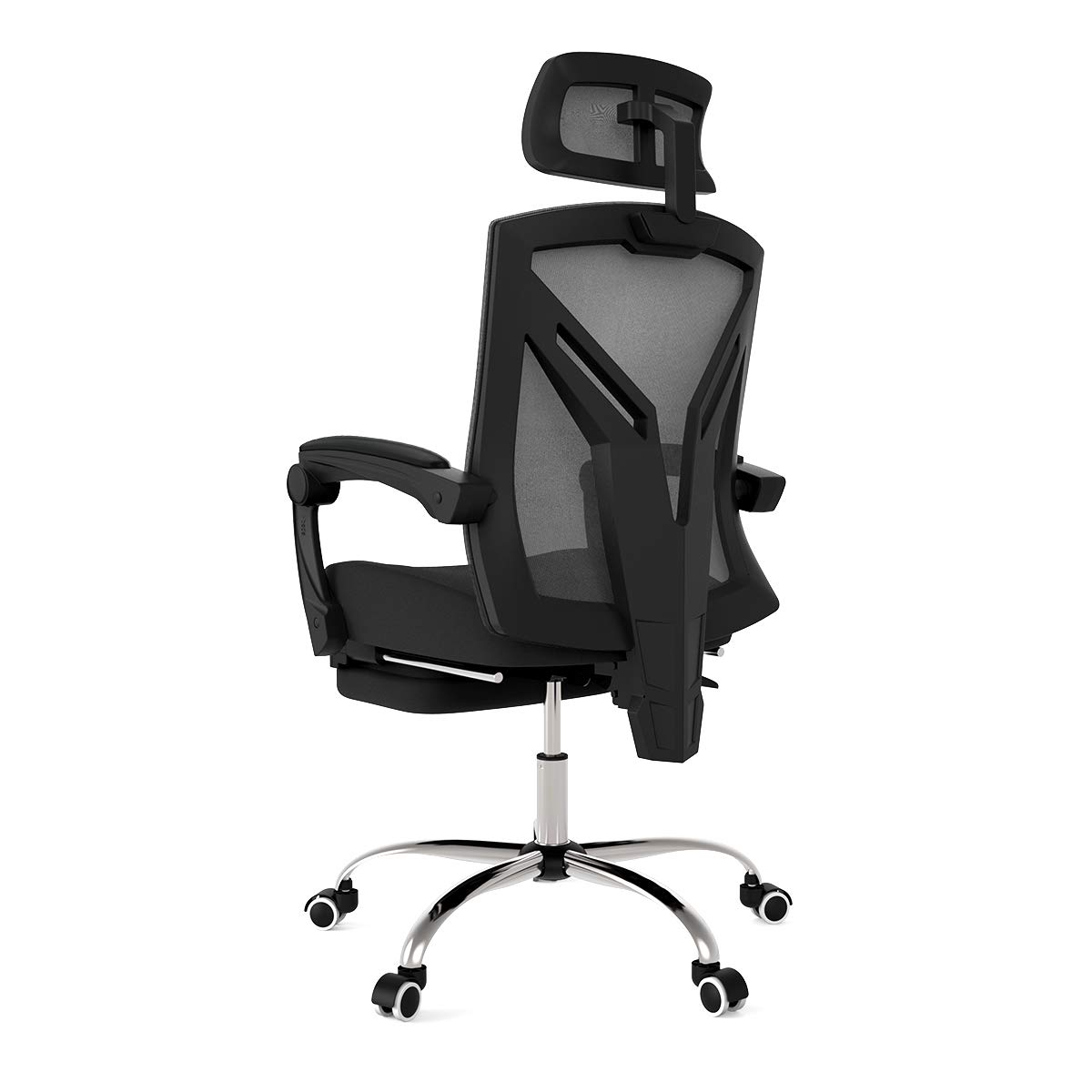 Hbada Ergonomic Office Recliner Chair - High-Back Desk Chair Racing Style with Lumbar Support - Height Adjustable Seat, Headrest- Breathable Mesh Back - Soft Foam Seat Cushion with Footrest, Black by Hbada (Image #3)
