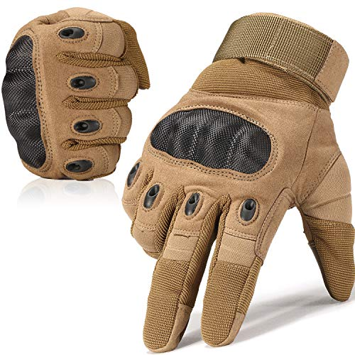 JIUSY Army Military Tactical Touchscreen Hard Knuckle Full Finger Gloves for Outdoor Motorcycle Cycling Racing Hunting Hiking Airsoft Paintball Shooting Work Size X-Large Brown