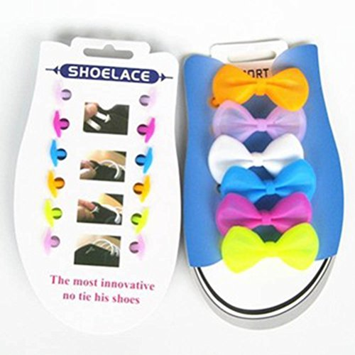 45d655a7e21f8 OULII 6 Pairs Silicone Cute Shoe Laces bowknot Shaped No Tie ...