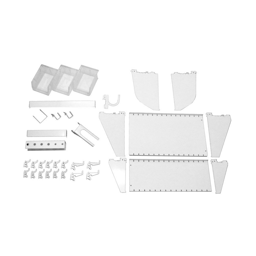 Wall Control KT-400-WRK W Slotted Tool Board Workstation Accessory Kit for Wall Control Pegboard Only, White