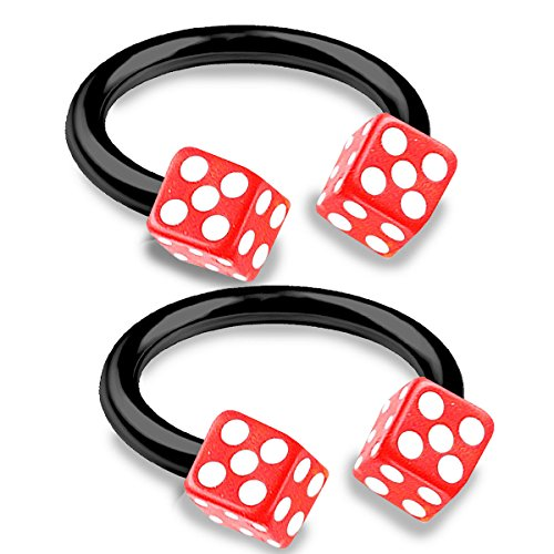 bodyjewellery 2pcs 16g 3/8 Horseshoe Ring Septum Catilage Hoop Nose Lip Conch Tragus Helix Black Anodized Steel Dice Ball - Red