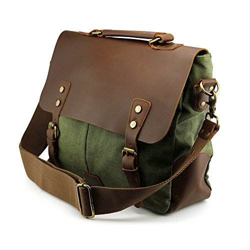 GEARONIC TM Men's Vintage Canvas Leather Messenger Bag Satchel School Military Shoulder Travel Bag (Military Green)
