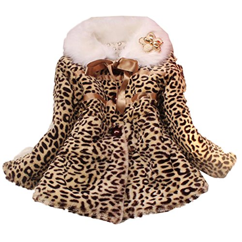 Big Button Brown Overcoat Princess Winter Leopard Pattern Jacket Coats for Toddler Girls Style 2, 5 6Years 12,  5 6Years 12, Leopard 2 -