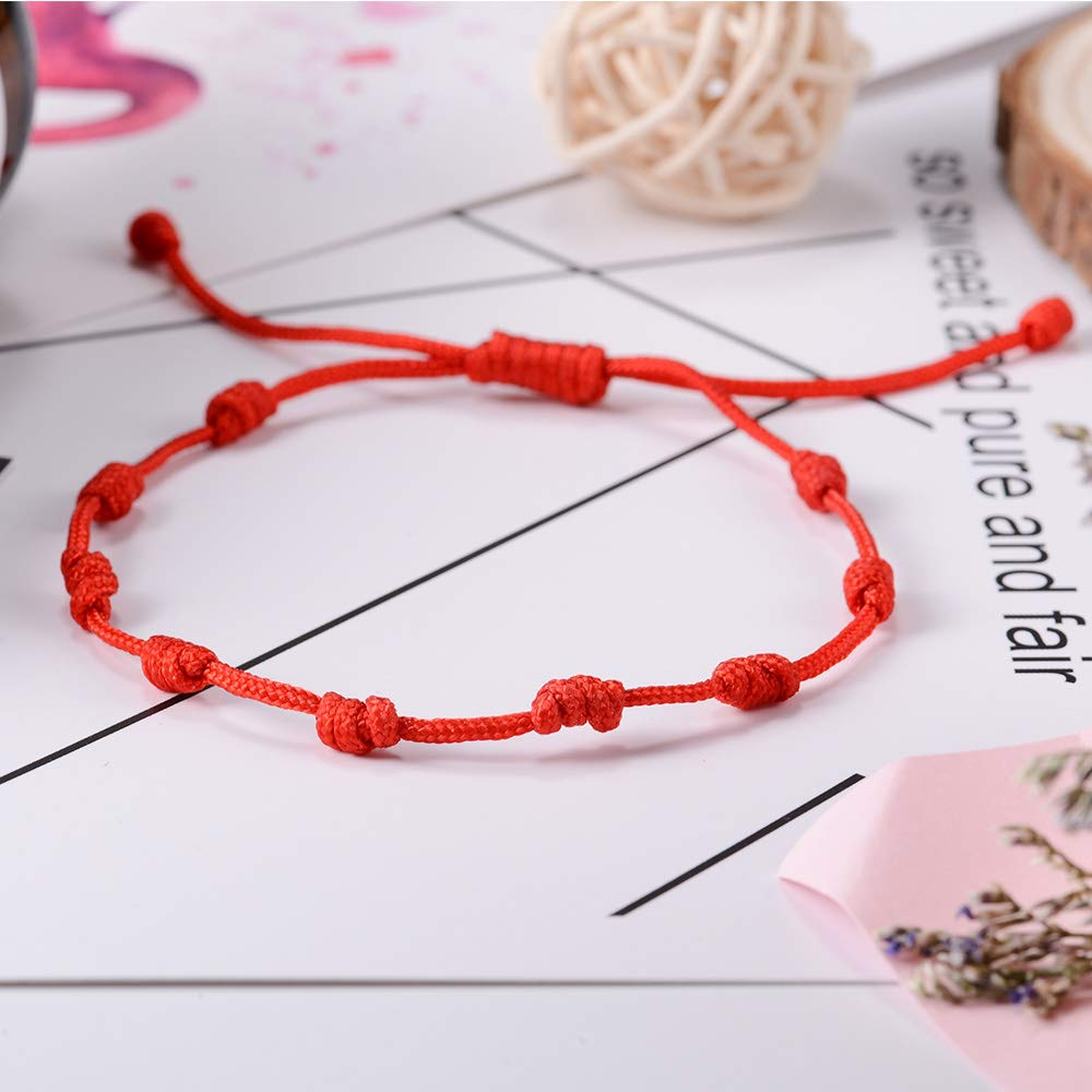 Wedding First Communion Confirmation Religious Prayer BOCHOI Knotted Rosary Bracelet Decenario Red Knot String Bracelet//Anklet- Baptism Friendship,Protection,Blessed,Lucky
