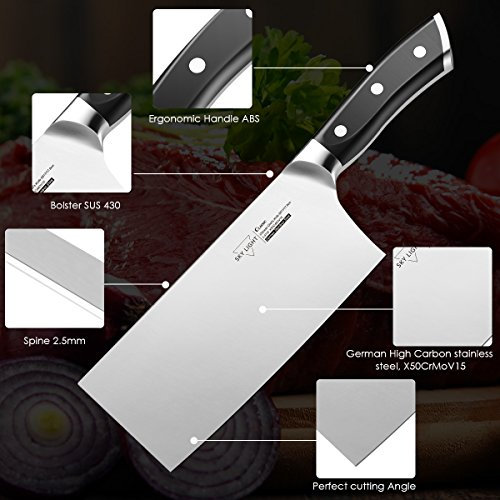 7'' Cleaver,Chinese Butcher Knife GermanHighCarbonStainlessSteel Kitchen Knife withErgonomicHandleforKitchenandRestaurant by SKY LIGHT (Image #1)'