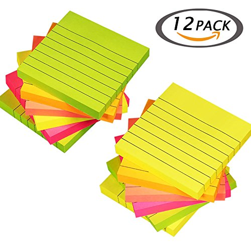 Selizo Super Sticky Notes Lined, 3 in x 3 in, 100 Sheets/Pad, 5 Colors (12) (Sticky Post Super Recycled)