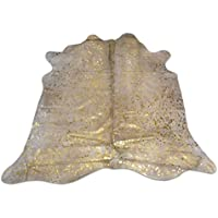 Metallic Cowhide Rug Gold on off white background