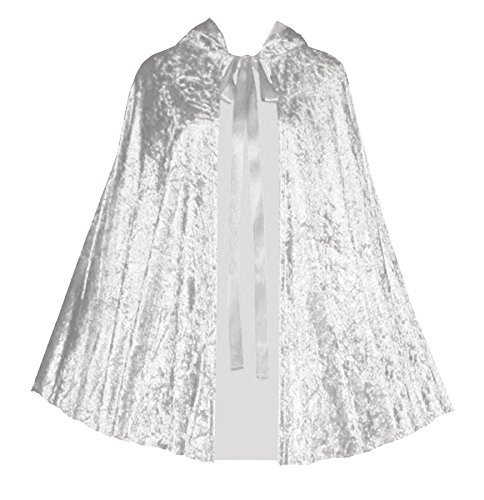 Halloween Renaissance Gothic Steampunk Crushed Velvet Capelet (Light Silver) (Circus Magician Costume)