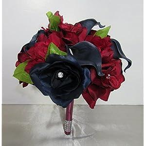 Navy Blue Burgundy Rhinestone Rose Calla Lily Bridal Wedding Bouquet & Boutonniere 94