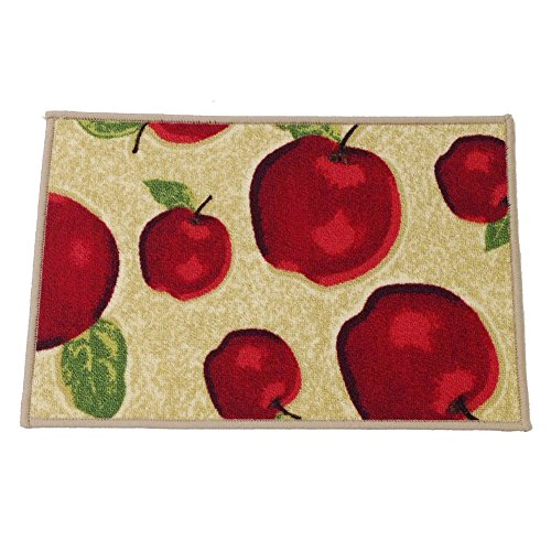Ozzptuu Rectangle Red Apple Kitchen Area Rugs Mats with Non-slip Latex Back Bedside Window Floor Mat Doormats (Small-40x60cm)