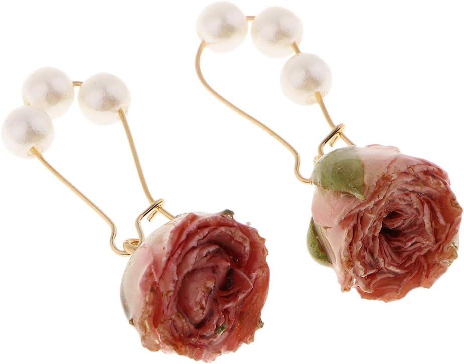 Baoblaze 1 Par Pendientes de Gancho con Perlas de Imitación Colgante de Flores Secas Naturales 3D Joyas para Mujer Chica - Rosado