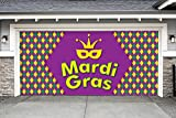 Outdoor Mardi Gras Decorations Garage Door Banner Cover Mural Décoration 7'x16' - Mardi Gras Diamonds - ''The Original Mardi Gras Supplies Holiday Garage Door Banner Decor''