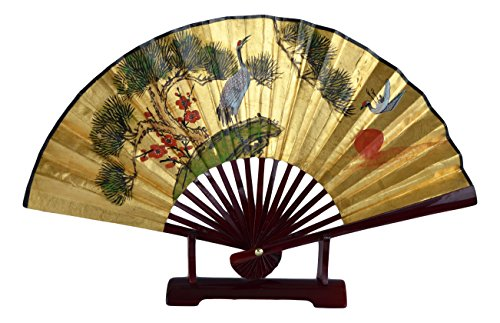 (1980s Vintage Classic 24-inch Hand-painted Decorative Fan, Gold Leaf, Cranes Cherry Blossom Pine Blessings of Happiness, Bird, Chinese Japanese Style, with Stand (T105))