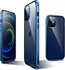 KMXDD Compatible for iPhone 12 Bumper Case with Camera Lens Protector Magnetic Adsorption Double Sided Tempered Glass Case Screen Protector Aluminum Metal Frame (iPhone12, Blue)