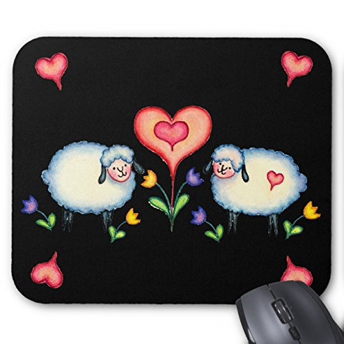 - UOOPOO Sheep & Hearts On Black By Sharon Sharpe Mouse Pad Rectangle Non-Slip Rubber Personalized Mousepad Gaming Mouse Pads 8.2 x 10.2 x 0.12 Inch(Pattern: Print)