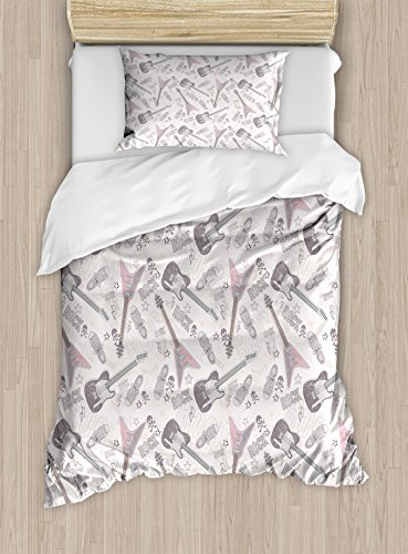 Crossbones Star (Music Duvet Cover Set Twin Size by Ambesonne, Guitars Shoes Skulls Crossbones Stars Punk Rock Concert Pattern, Decorative 2 Piece Bedding Set with 1 Pillow Sham, Pale Pink Pale Muave Coconut)