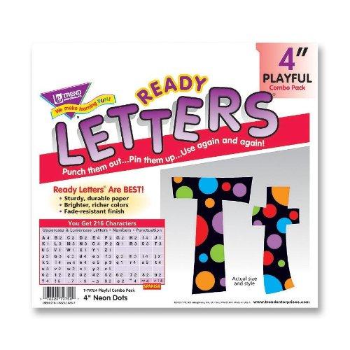 Neon Dots Ready Letters (Trend Enterprises TEP79754 Ready Letter- w- Neon Dots- 4in.- Assorted Letters-Color)